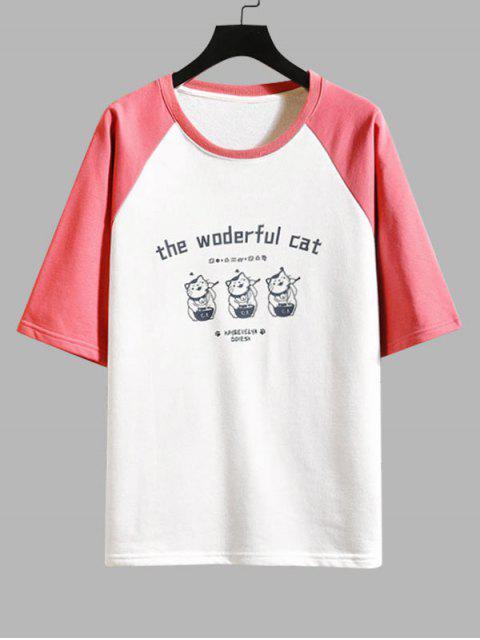 T-Shirt Grafica a Gatto a Contrasto - Rosso 2XL Mobile