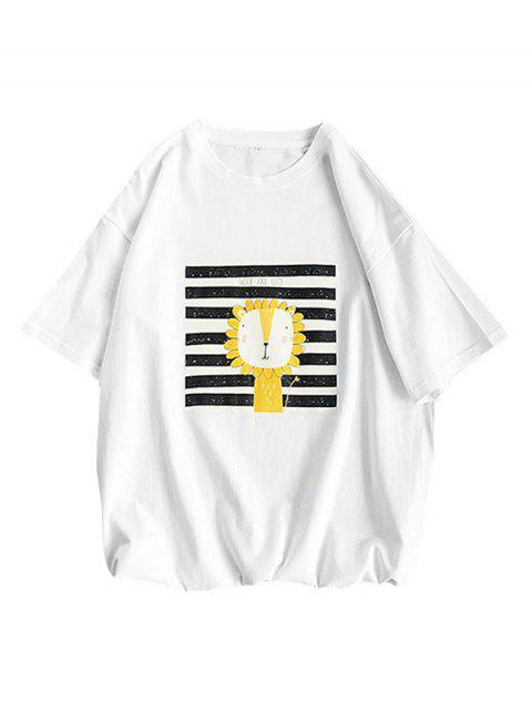 Maglietta a Righe con Motivo di Leone Dei Cartoni - Bianca XL Mobile