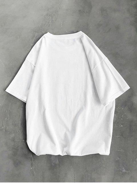 Camiseta Básica a Rayas Diseño León Dibujo Animado - Blanco 3XL Mobile