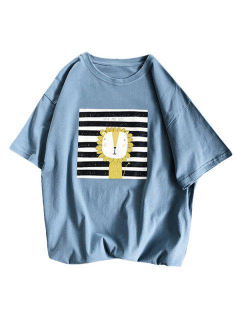Camiseta Básica a Rayas Diseño León Dibujo Animado - Azul M Mobile