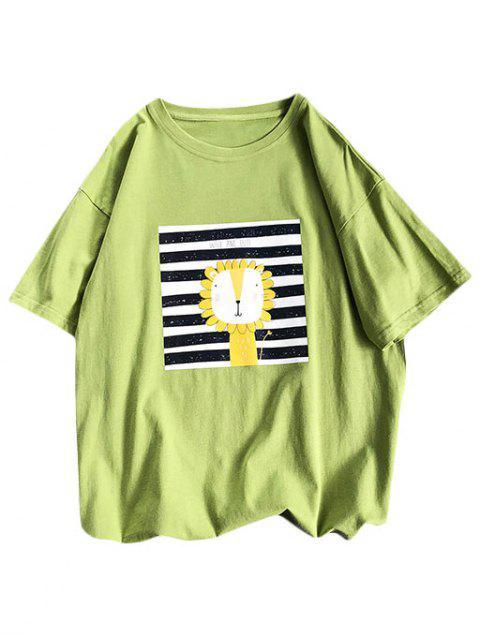 Camiseta Básica a Rayas Diseño León Dibujo Animado - Verde XL Mobile