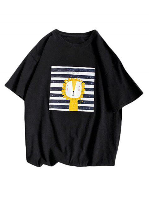 Camiseta Básica a Rayas Diseño León Dibujo Animado - Negro XL Mobile