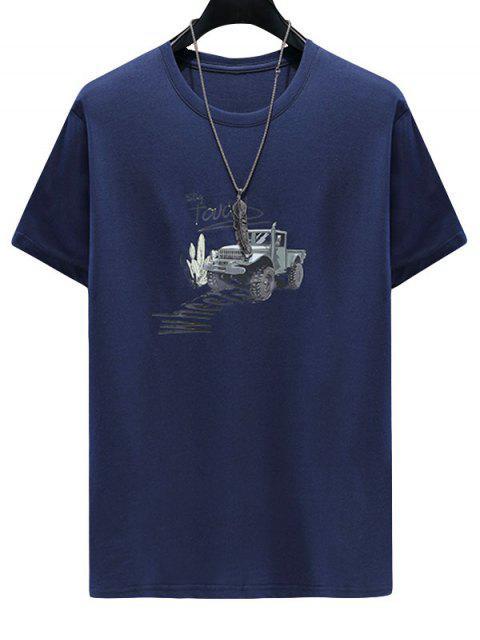 Truck Letter Print Casual T-shirt - طالبا الأزرق 3XL Mobile