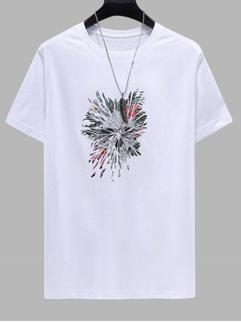 Floral Feather Printed Short Sleeves T-shirt - أبيض 4XL Mobile