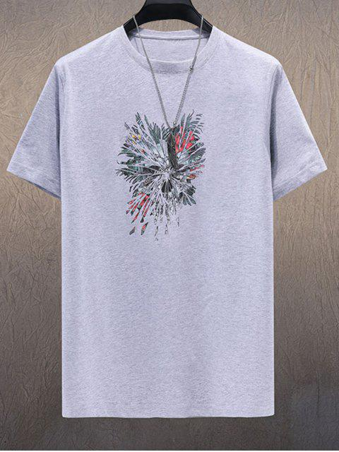 ladies Floral Feather Printed Short Sleeves T-shirt - GRAY CLOUD 3XL Mobile