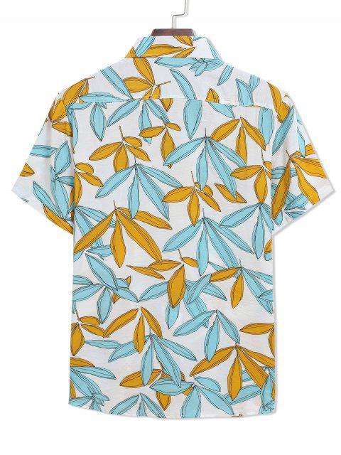 ladies Two Tone Leaves Print Casual Turn Down Collar Shirt - MULTI M Mobile
