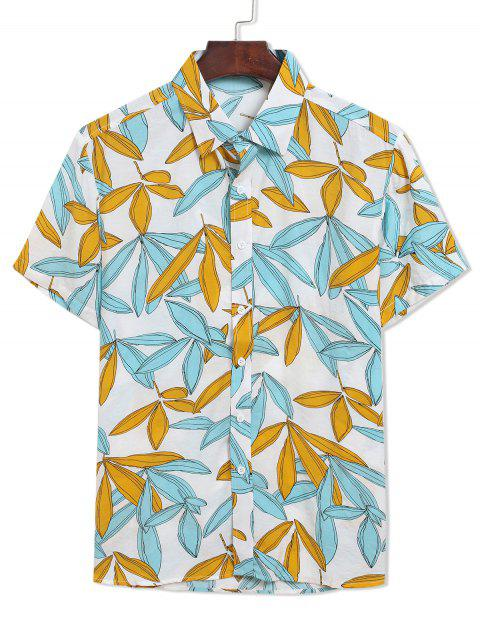 online Two Tone Leaves Print Casual Turn Down Collar Shirt - MULTI 2XL Mobile
