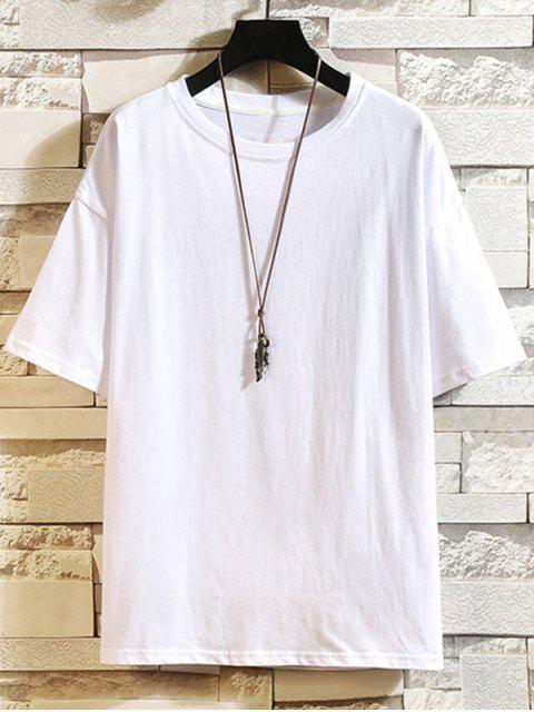 Camiseta com Estampa Gráfica Gola Redonda de Letra - Branco XS Mobile