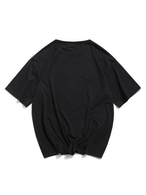 T-Shirt Grafica con Stampa Animali di Cartone - Nero XL Mobile