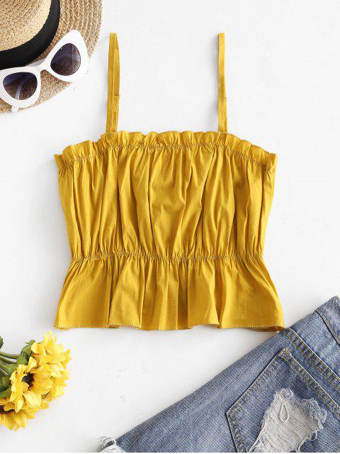 buy Peplum Hem Stitching Cami Top - SAFFRON L Mobile