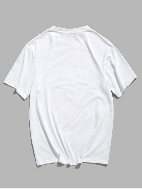 Camiseta Básica Manga Curta com Estampa Gráfica - Branco XS Mobile