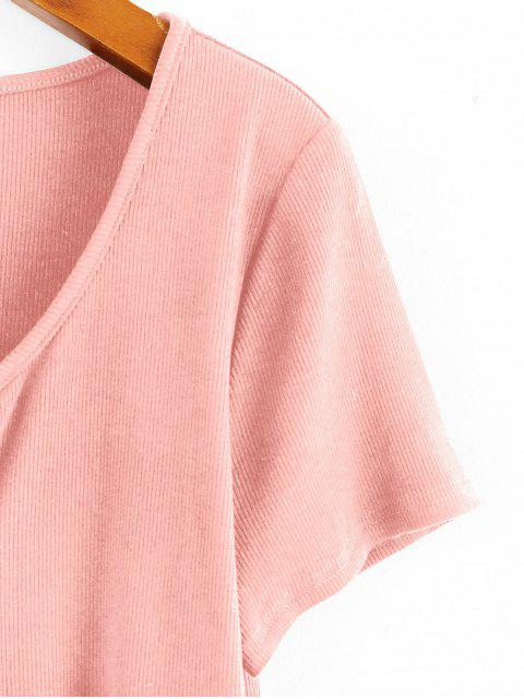 ZAFUL Geripptes Crop T-Shirt mit Bindeband - Rose M Mobile