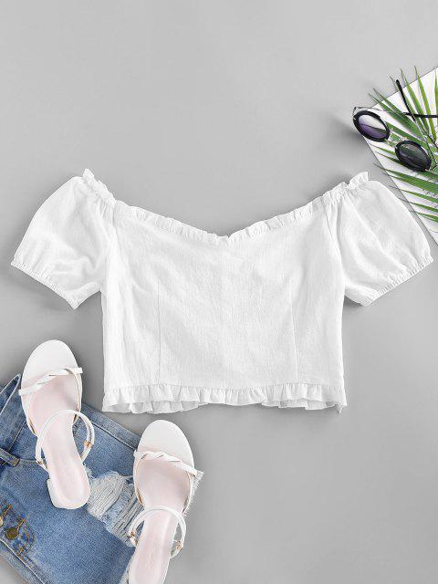 hot ZAFUL Mock Button Ruffle Crop Blouse - WHITE M Mobile