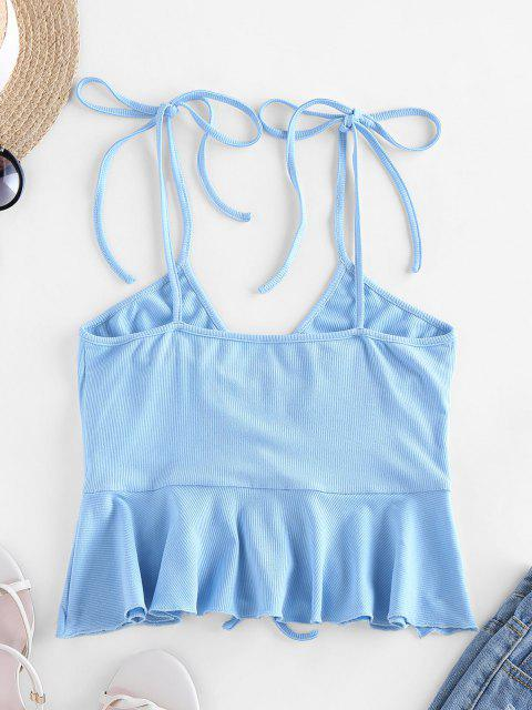 trendy ZAFUL Ribbed Cinched Tie Flounce Peplum Cami Top - SEA BLUE L Mobile