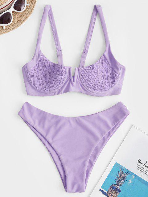 online ZAFUL Underwire Shirred Balconette Bikini Set - LAVENDER BLUE M Mobile