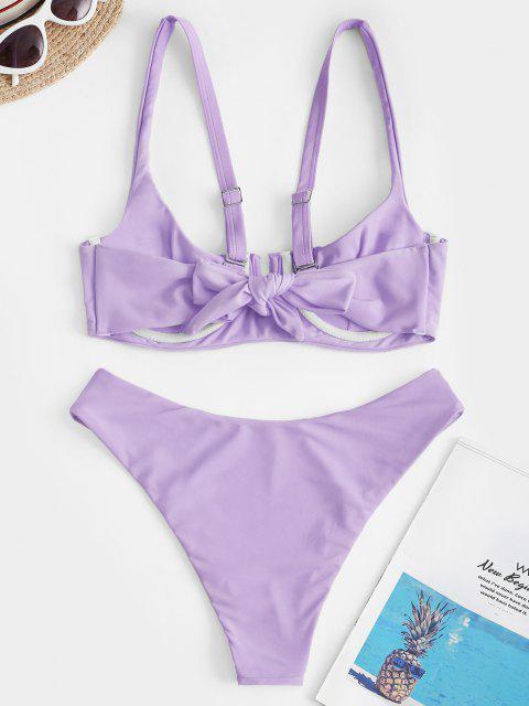 Bikini Increspato con Ferretto di ZAFUL - Blu Porpora Chiaro L Mobile