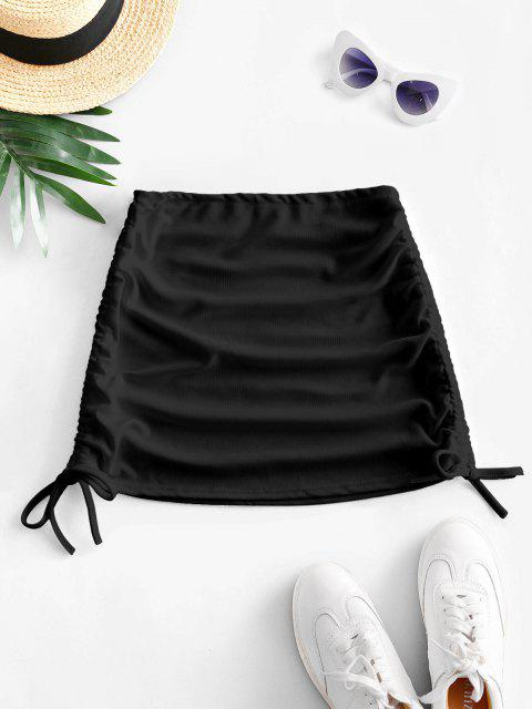 outfits Ribbed Cinched Side Mini Skirt - BLACK ONE SIZE Mobile