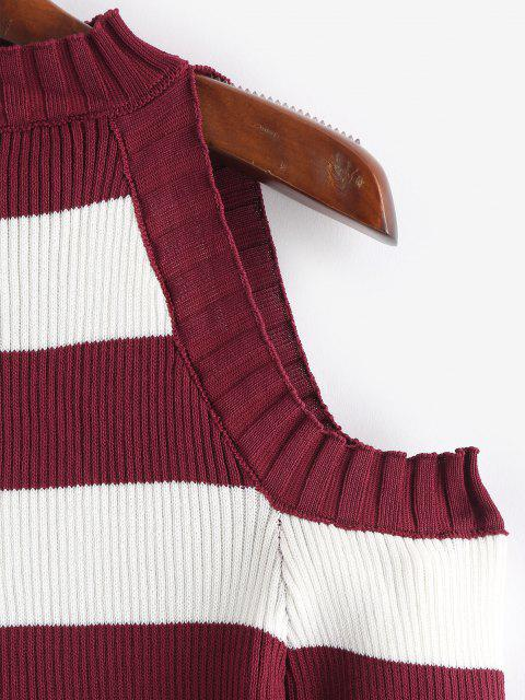 online Striped Cold Shoulder Knitwear - RED WINE ONE SIZE Mobile