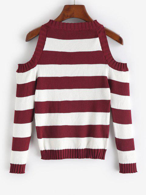 Striped Cold Shoulder Knitwear - نبيذ احمر حجم واحد Mobile
