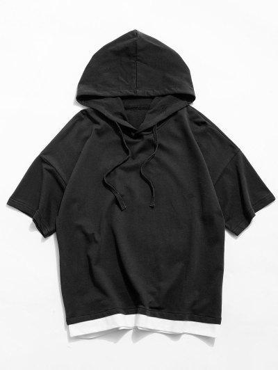 Camiseta Con Capucha De Manga Corta De Color Bloque - Negro L