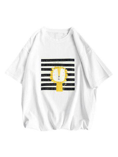 Cartoon Lion Striped Basic T Shirt - White Xl
