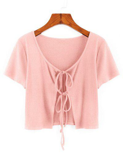 ZAFUL Ribbed Tie Front Crop T-shirt - Rose M