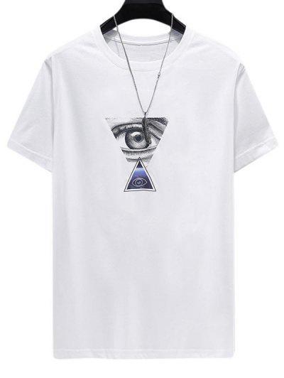 Camisa Impreesa De Mangas Curtas Com Estampa De Triângulo - Branco 4xl
