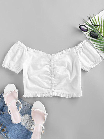 ZAFUL Mock Button Ruffle Crop Blouse - White S