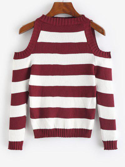Striped Cold Shoulder Knitwear - Red Wine