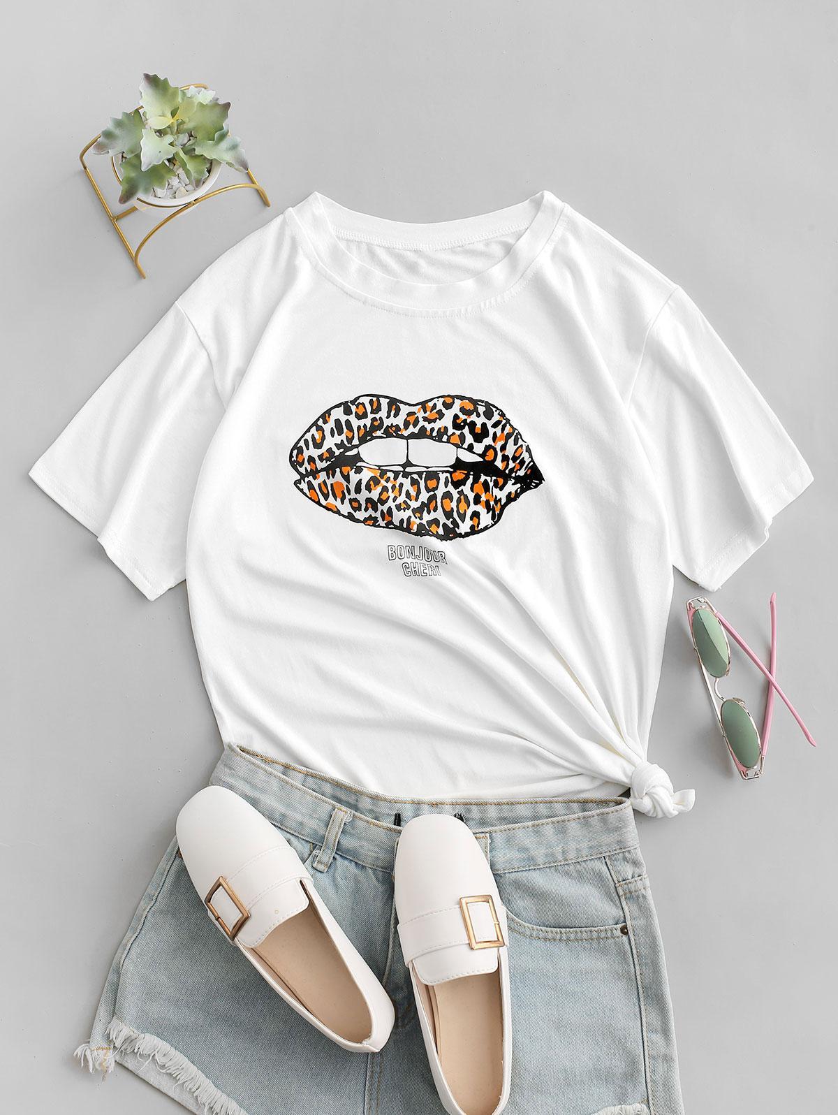Leopard Lips BONJOUR CHERI Graphic T-shirt