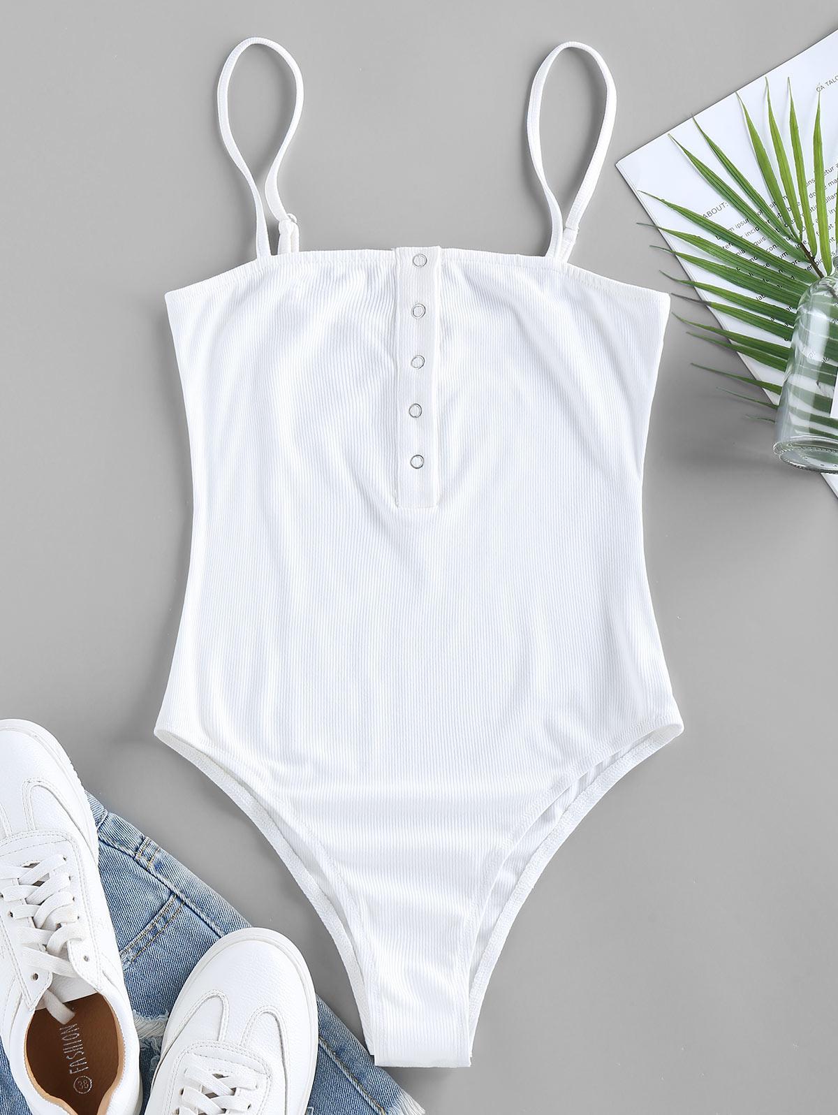 ZAFUL Ribbed Snap Button Cami Bodysuit