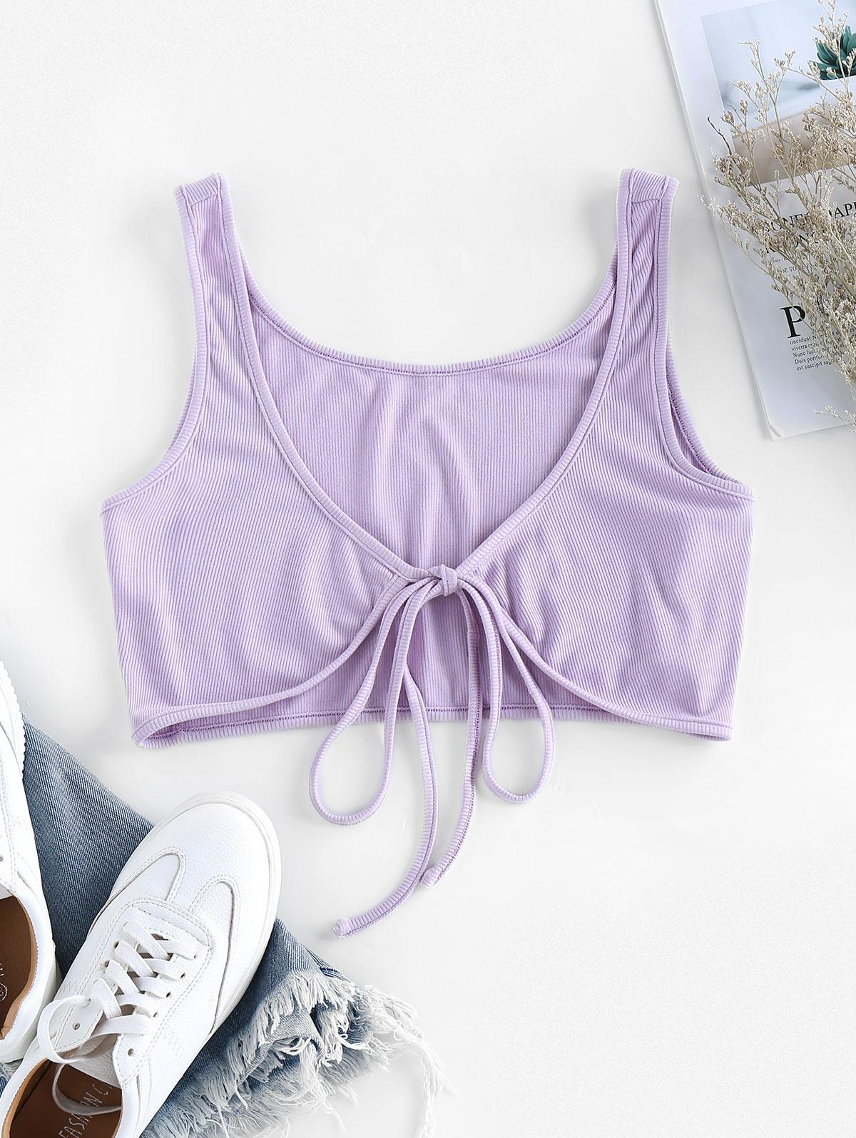 ZAFUL Tie Front Ribbed Crop Top