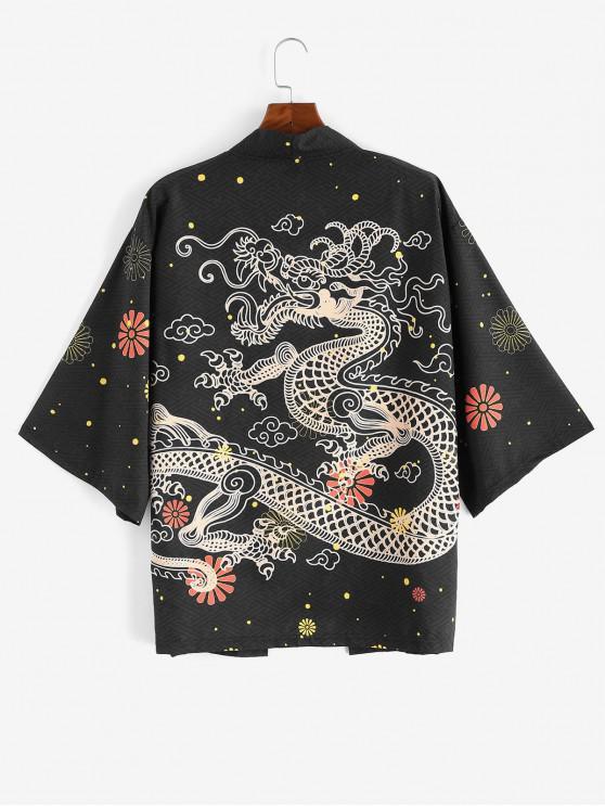 shop Dragon Flower Print Kimono Cardigan - BLACK 3XL