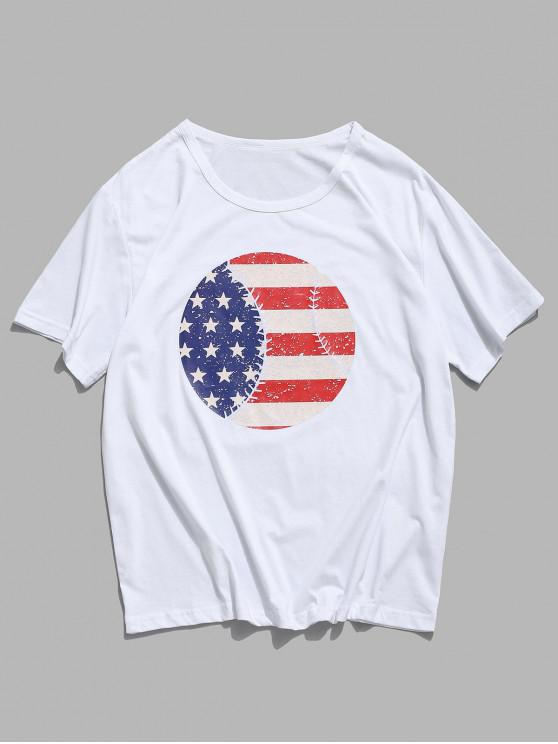 unique American Flag Round Graphic Lounge Short Sleeve Tee - WHITE XS