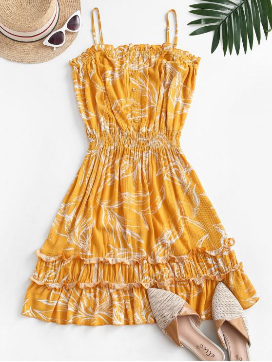 outfit Leaf Print Crinkly Frilled Bandeau Dress - YELLOW L
