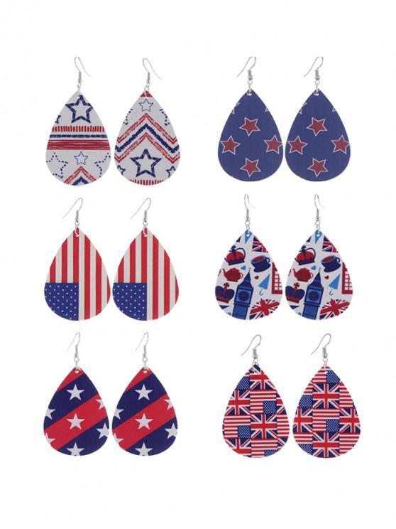 Conjunto de Pendientes de Gota de Agua de Estampado de Bandera de Estados Unidos - Multicolor-A