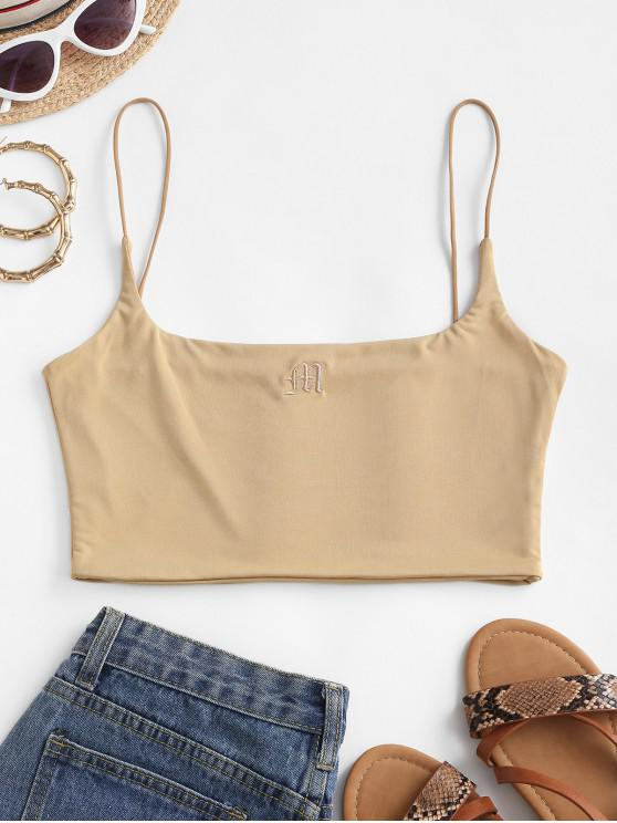 buy Bungee Strap Embroidered Cami Top - TAN M