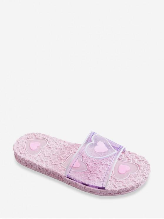 Sandalias Planas de Color Bloque con Estampado de Corazón de Flores - Rosado EU 39
