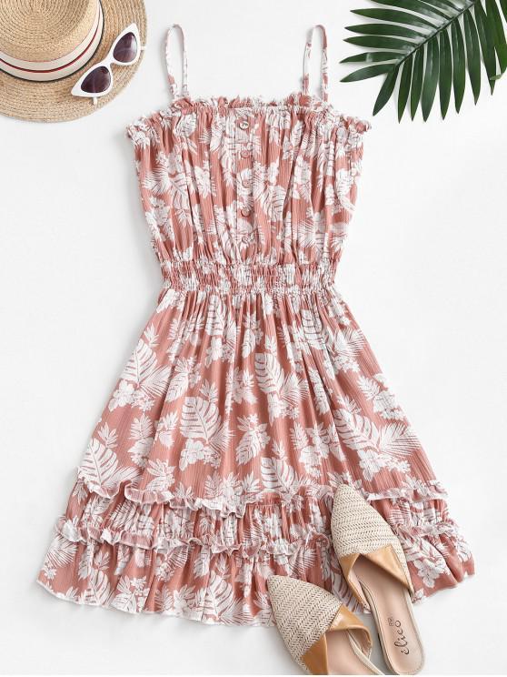 trendy Leaf Print Crinkly Frilled Bandeau Dress - PINK S