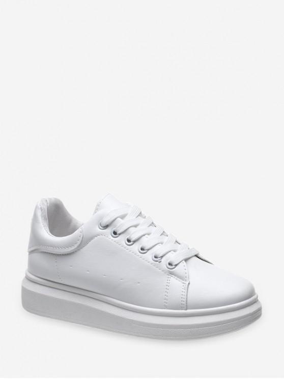 Zapatos de Deporte Bajos de PU con Cordones - Blanco EU 38