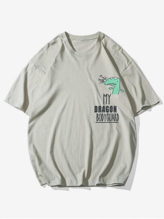 Cartoon Grafik Buchstabedruck Grundlegendes T-Shirt - Helles Khaki 2XL