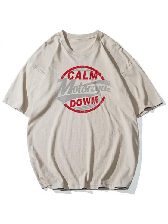 Basic Letter Graphic Print T-shirt - ضوء الكاكي 4XL