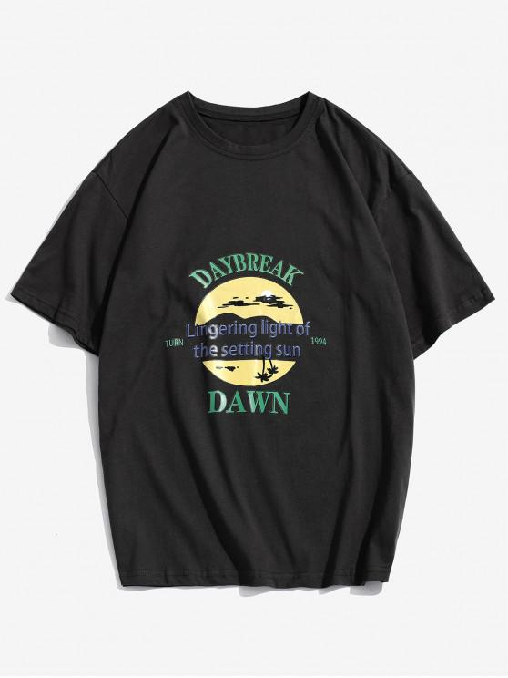 Daybreak Grafik Basic T-Shirt - Schwarz 4XL