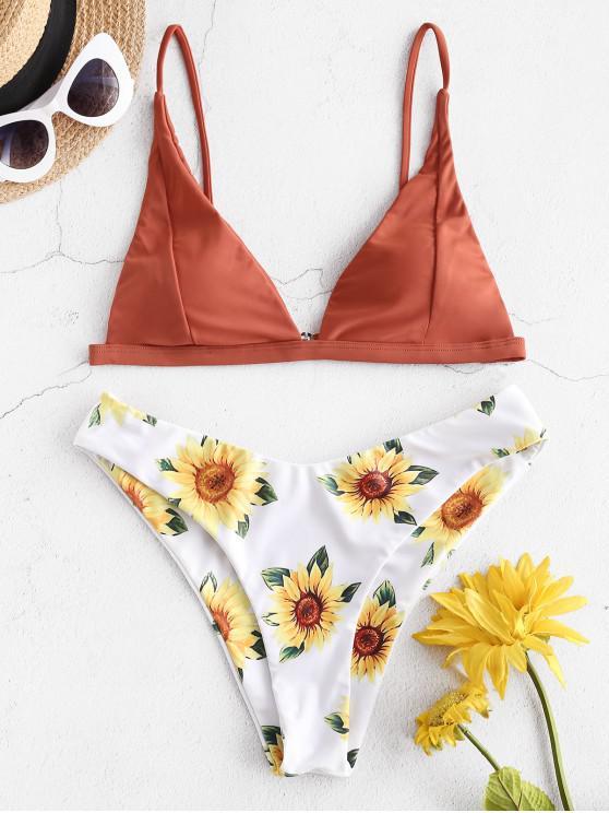 ZAFUL Sunflower High Leg Bikini Swimwear - الكرز الاحمر S