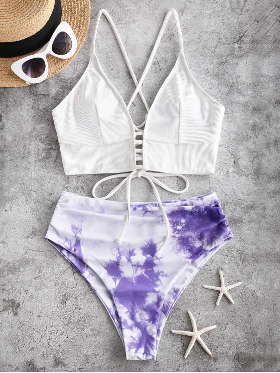 online ZAFUL Tie Dye Ribbed Lace Up High Cut Tankini Swimsuit - MAUVE S