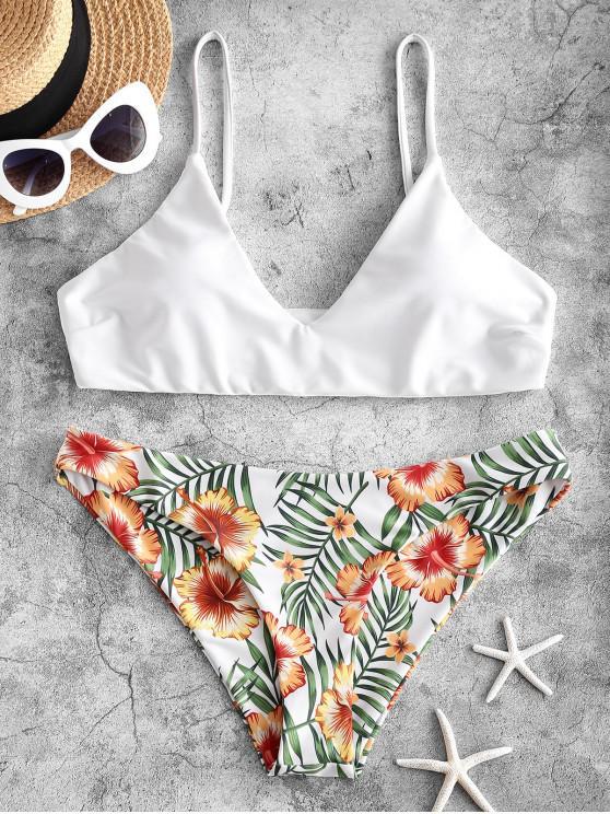 ZAFUL Maillot de Bain Bikini Fleuri Feuille Imprimée - Blanc M