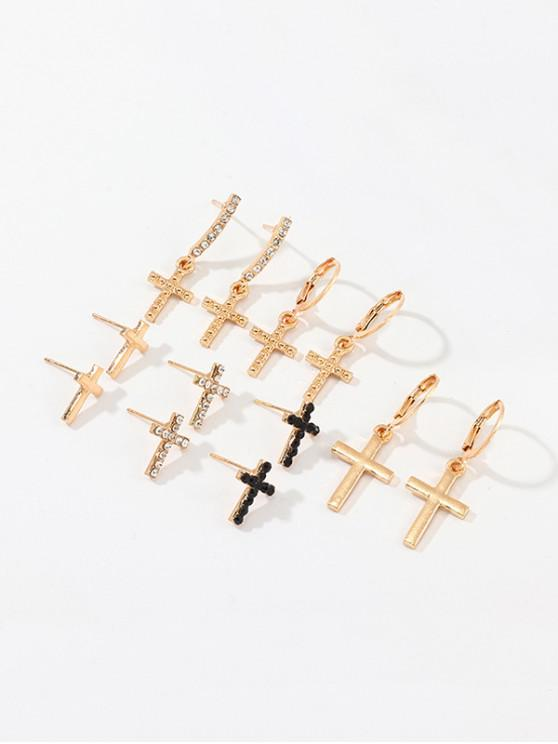 lady Rhinestone Cross Clip And Stud Earrings Set - GOLD