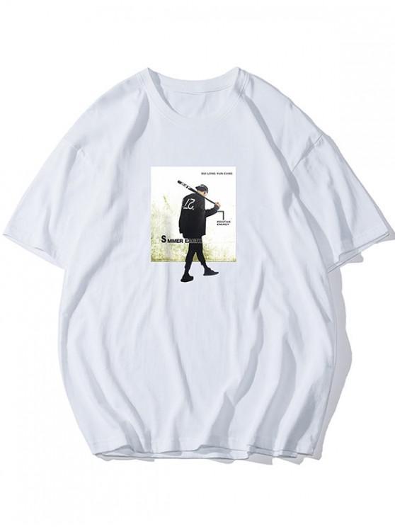 women's Character Graphic Round Neck T-shirt - WHITE 4XL