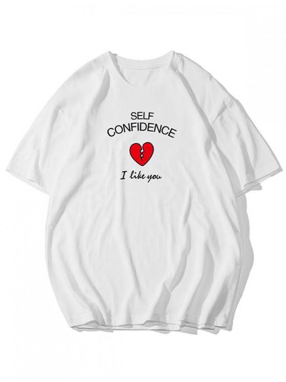 Self Confidence Heart Graphic Basic T Shirt - أبيض 2XL