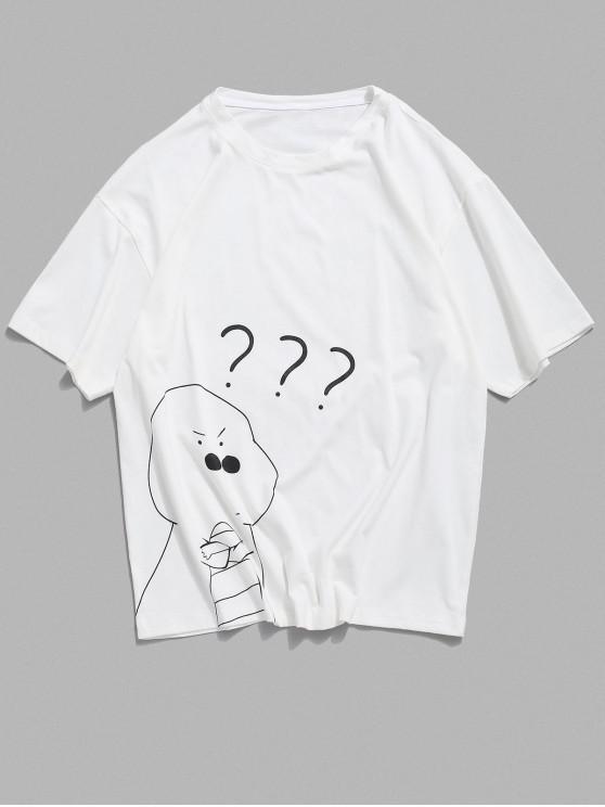 Cartoon Animal Graphic Basic Casual T-shirt - أبيض 2XL